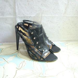 L.A.M.B. Gwen Stefani Black Caged Stiletto 9.5 EUC